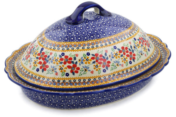 "Polish Pottery Baker with Cover 16"" Summer Bouquet Theme UNIKAT"