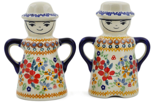 "Polish Pottery Salt and Pepper Set 5"" Summer Bouquet Theme UNIKAT"
