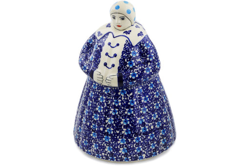 Polish Pottery Woman Shaped Jar 71 oz Flowers On The Lake Theme
