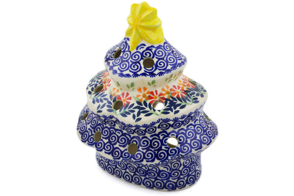 "Polish Pottery Christmas Tree Candle Holder 7"" Wave Of Flowers Theme"