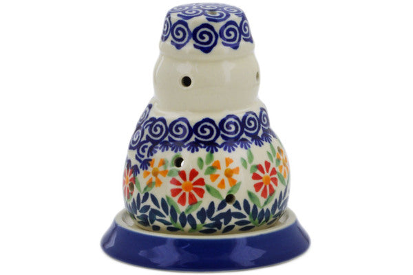 "Polish Pottery Snowman Candle Holder 5"" Wave Of Flowers Theme"