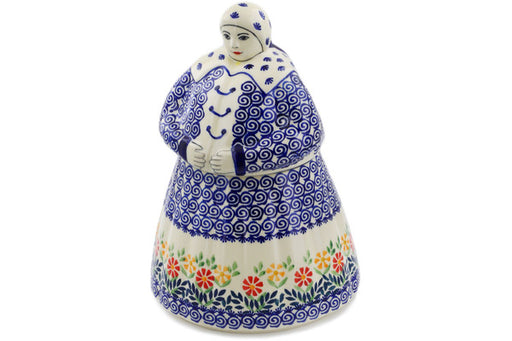 Polish Pottery Woman Shaped Jar 71 oz Wave Of Flowers Theme