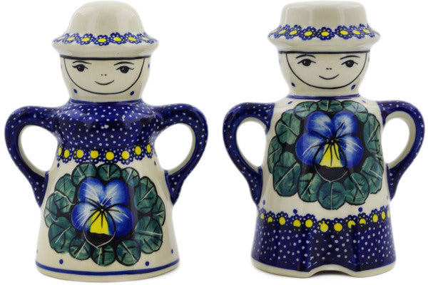 "Polish Pottery Salt and Pepper Set 5"" Flower In The Grass Theme UNIKAT"