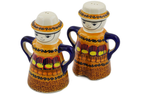 "Polish Pottery Salt and Pepper Set 5"" Early October Theme UNIKAT"