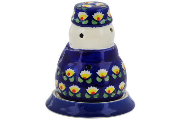"Polish Pottery Snowman Candle Holder 5"" Waterlily Theme"