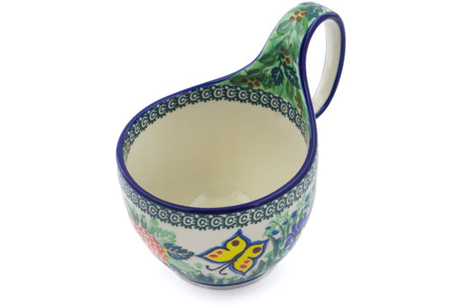 Polish Pottery Bowl with Loop Handle 16 oz Spring Garden Theme UNIKAT