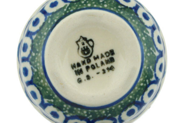 "Polish Pottery Condiment Server 5"" Blue Tulip Circle Theme"