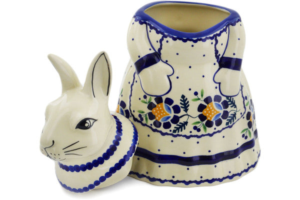 "Polish Pottery Bunny Shaped Jar 11"" Orange And Blue Flower Theme"
