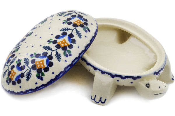 "Polish Pottery Turtle Shaped Jar 7"" Orange And Blue Flower Theme"