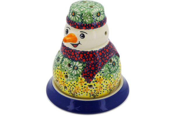 "Polish Pottery Snowman Candle Holder 5"" Sunshine Grotto Theme UNIKAT"