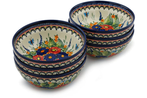 Polish Pottery bowls set of 6 Spring Splendor Theme UNIKAT