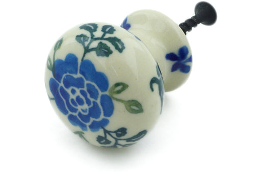 "Polish Pottery Drawer Pull Knob 1"" Blue Camellia Theme"