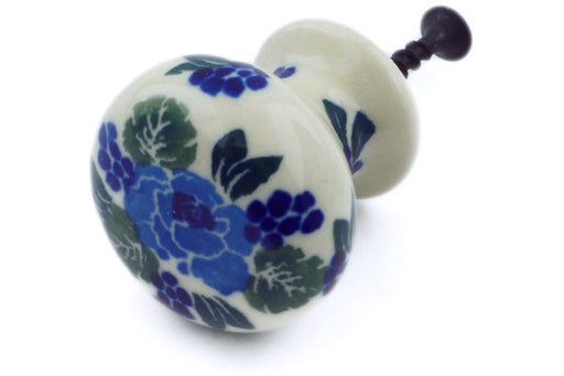 "Polish Pottery Drawer Pull Knob 1"" Blue Carnation Theme"