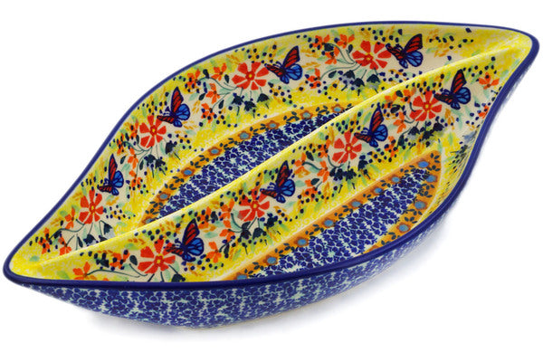 "Polish Pottery Divided Dish 12"" Butterfly Summer Garden Theme UNIKAT"