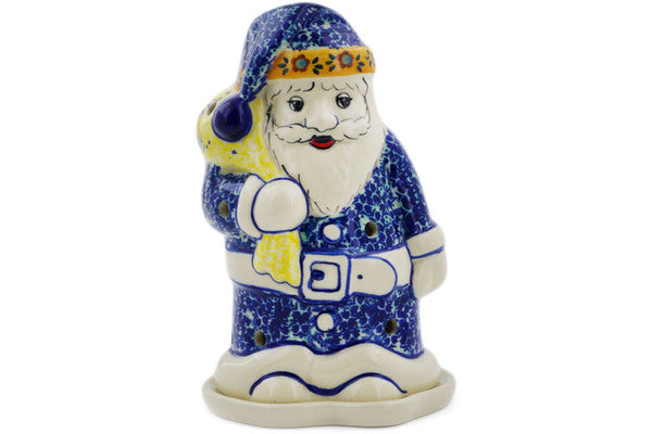 "Polish Pottery Santa Candle Holder 6"" Butterfly Summer Garden Theme UNIKAT"