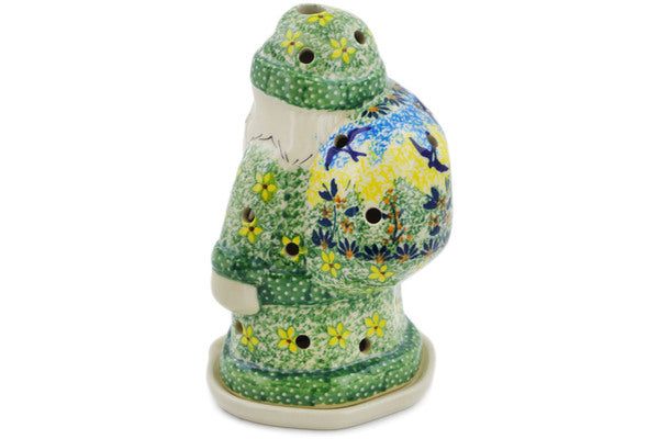 "Polish Pottery Santa Candle Holder 6"" Birds In The Sunset Theme UNIKAT"