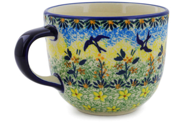 Polish Pottery Mug 13 oz Birds In The Sunset Theme UNIKAT