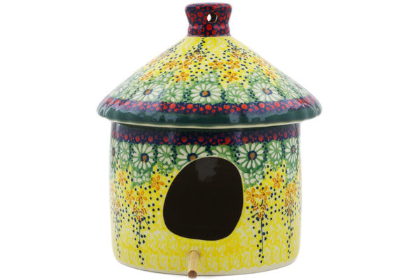 "Polish Pottery Birdhouse 7"" Sunshine Grotto Theme UNIKAT"