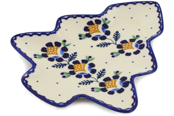 "Polish Pottery Tray 9"" Orange And Blue Flower Theme"