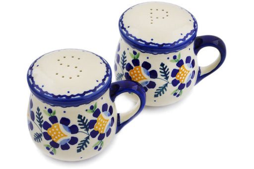 "Polish Pottery Salt and Pepper Set 4"" Orange And Blue Flower Theme"