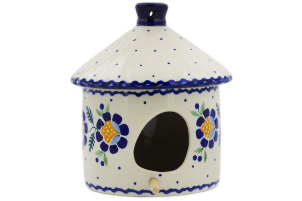 "Polish Pottery Birdhouse 7"" Orange And Blue Flower Theme"