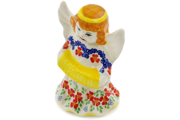 "Polish Pottery Angel Figurine 5"" Red Chains Theme UNIKAT"