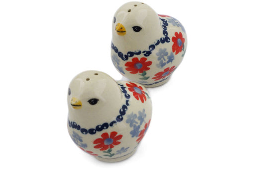 "Polish Pottery Salt and Pepper Set 2"" Full Blossom Theme"