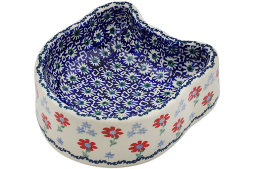 "Polish Pottery Pet Bowl 7"" Full Blossom Theme"