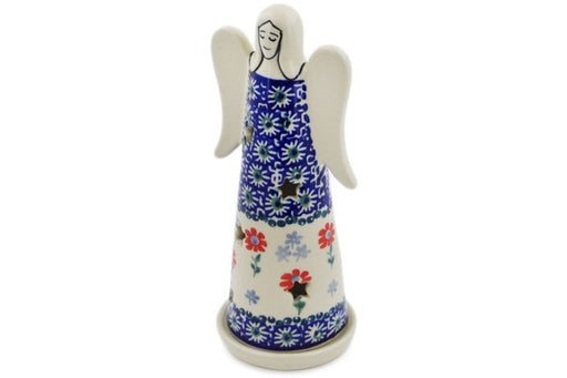 "Polish Pottery Candle Holder 8"" Full Blossom Theme"