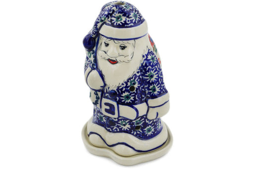 "Polish Pottery Santa Candle Holder 6"" Full Blossom Theme"
