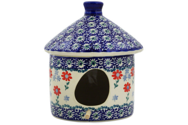 "Polish Pottery Birdhouse 7"" Full Blossom Theme"