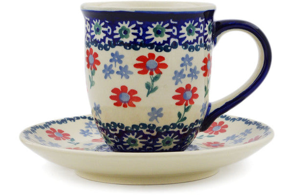 Polish Pottery Cup with Saucer 7 oz Full Blossom Theme
