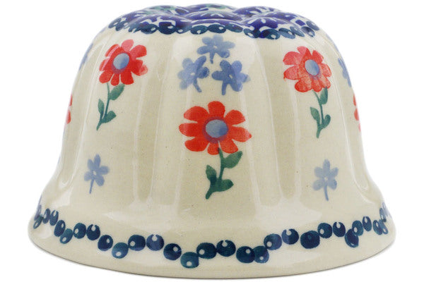 "Polish Pottery Bundt Cake Pan 4"" Full Blossom Theme"
