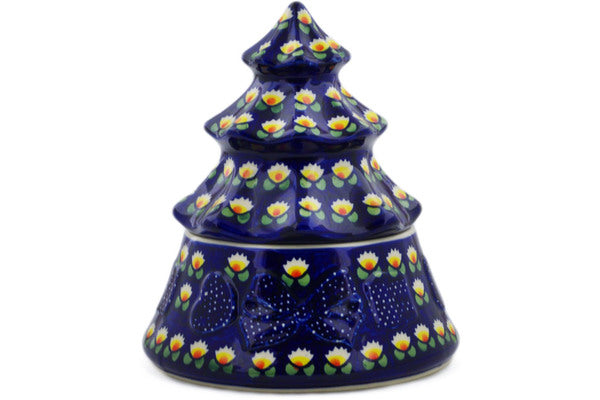 "Polish Pottery Christmas Tree 8"" Waterlily Theme"