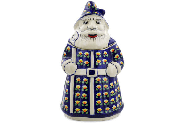"Polish Pottery Santa Shaped Jar 13"" Waterlily Theme"