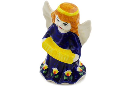 "Polish Pottery Angel Figurine 5"" Waterlily Theme"