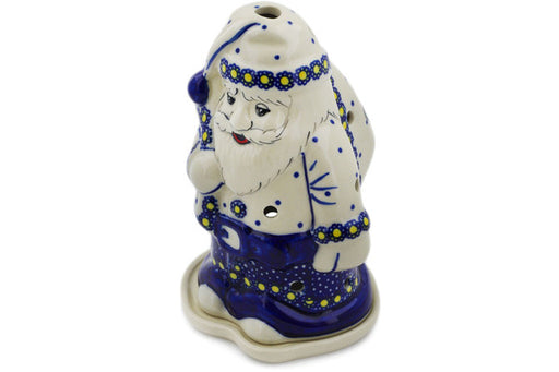 "Polish Pottery Santa Candle Holder 6"" Flower In The Grass Theme UNIKAT"