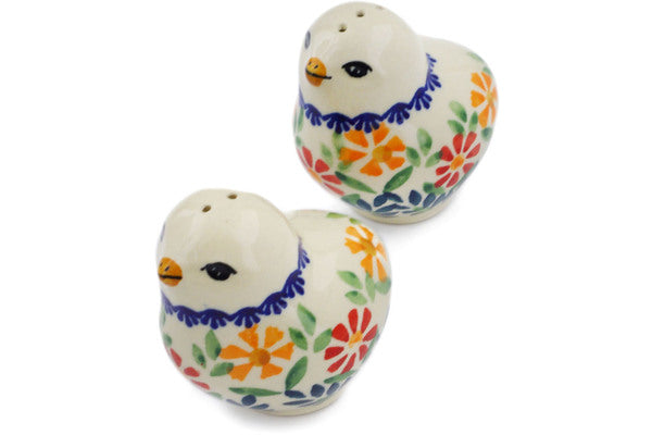 "Polish Pottery Salt and Pepper Set 2"" Wave Of Flowers Theme"