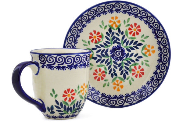 Polish Pottery Cup with Saucer 7 oz Wave Of Flowers Theme