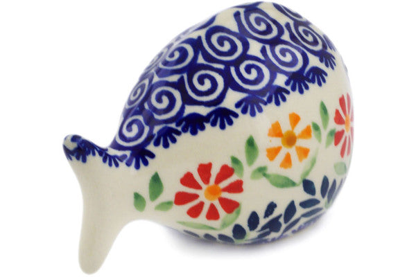 "Polish Pottery Fish Figurine 4"" Wave Of Flowers Theme"