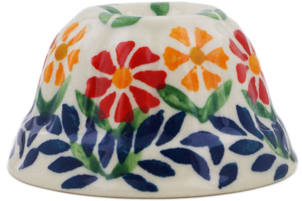 "Polish Pottery Bundt Cake Pan 3"" Wave Of Flowers Theme"
