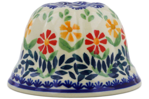 "Polish Pottery Bundt Cake Pan 4"" Wave Of Flowers Theme"