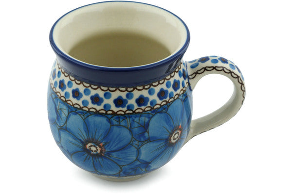 Polish Pottery Bubble Mug 12 oz Cobalt Poppies Theme UNIKAT