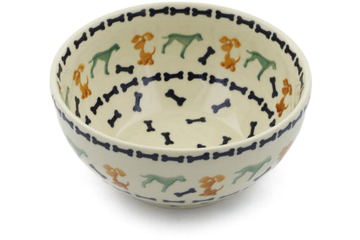 "Polish Pottery Bowl 6"" Dogs And Bones Theme"