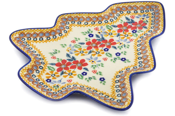 "Polish Pottery Tray 9"" Summer Bouquet Theme UNIKAT"