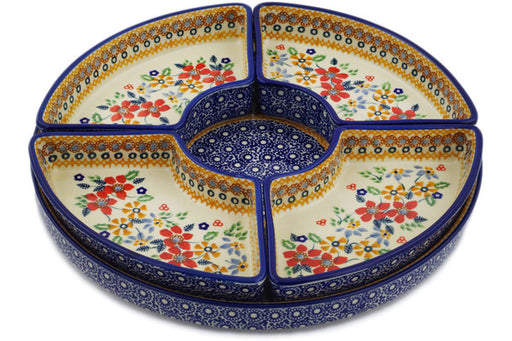 "Polish Pottery Condiment Server 12"" Summer Bouquet Theme UNIKAT"