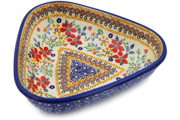 "Polish Pottery Bowl 8"" Summer Bouquet Theme UNIKAT"