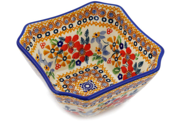 "Polish Pottery Bowl 5"" Summer Bouquet Theme UNIKAT"