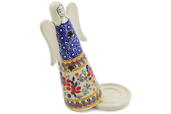 "Polish Pottery Candle Holder 8"" Summer Bouquet Theme UNIKAT"