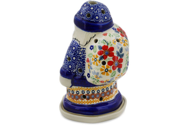 "Polish Pottery Santa Candle Holder 6"" Summer Bouquet Theme UNIKAT"